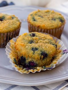 Coconut Flour Blueberry Protein Muffins! Healthy, moist, and sweet blueberry muffins that are full of fiber and protein. {Grain-Free, Paleo} | Meaningful Eats