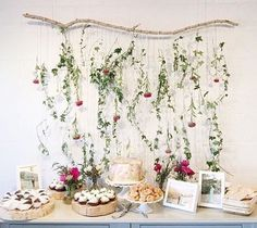 shower dessert table / floral backdrop / photo by delbarr moradi Otoño Baby Shower, Floral Baby Shower, Floral Backdrop, Floral Garland, Birthday Party Tables, Festa Party, Diy Party Decorations, Backdrops, Printable Flower