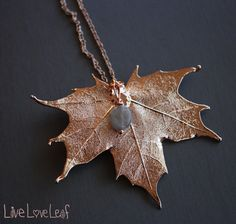4071fb085377 Rose Gold Sugar Maple Leaf Pendant with Labradorite Charm
