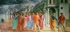 Masaccio. El tributo de la moneda. Fresco Capilla Brancacci