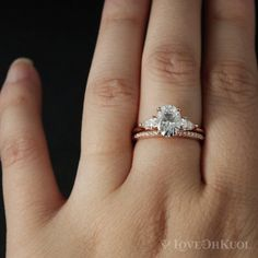 Excellent Cost-Free Rose Gold 3 Stone Moissanite Engagement Ring - Oval Moissanite - Pave Diamond Wedding Band, Eternity, Conflict Free Ideas Have you been searching for inexpensive wedding bands? At EFES you will find wedding rings from Nure 3 Stone Engagement Rings, Oval Engagement, Classic Engagement Rings, Engagement Ring Settings, Diamond Wedding Rings, Bridal Rings, Wedding Bands, Wedding Stuff, Gift Girlfriend