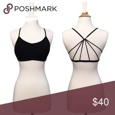 Strappy Back Caged Padded Bralette - Black Ultra comfortable, super stretchy material makes this cute, strappy, racerback style bralette perfect for everyday wear. Lightly padded. OSFM up to about a 36C.  ❌ Sorry, no trades.  *gathered pattern fairlygirly Tops Crop Tops