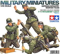German Infantry Mortar Team set 4 figures with accessories. For use scale model kits.Tamiya 35193 – Military Miniature Series German InfantryMortar figures includedWith weapons and accessoriesThis plastic kitset requires paint and glue to complete.