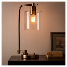 Add both modern and industrial style to your desk with the Hudson Industrial Desk Lamp from Threshold. The metal table lamp pairs perfectly with the glass shade for a true industrial look, and the… Energy Efficient Bulbs, Industrial Table Lamp, Industrial Lamp, Industrial Desk Lamp, Metal Table Lamps, Vintage Lamps, Energy Efficient Light Bulbs, Desk Lamps, Simple Lamp