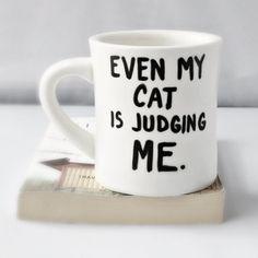 Cat Funny Mug coffee tea cup diner mug black white by KnotworkShop, $13.00