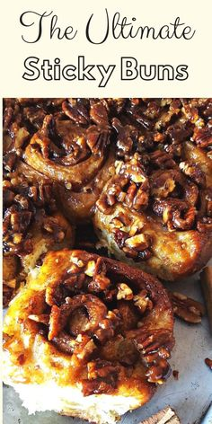 World´s Best Sticky Buns ULTIMATE Sticky Buns Recipe – This is hands down the best easy sticky buns recipe ever! Pillowy soft homemade buns packed with cinnamon and brown sugar filling, coated in an ooey caramel pecan sauce made from scratch. Pecan Cinnamon Rolls, Cinnamon Bun Recipe, Pecan Rolls, Sticky Cinnamon Roll Recipe, Homemade Cinnamon Rolls, Sticky Rolls, Pecan Sticky Buns, Breakfast And Brunch, Perfect Breakfast