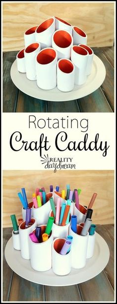 Rotating Craft Caddy DIY Project step by step Tutorial . using PVC pipes and a lazy susan! You can easily do it yourself for craft supplies or kids art supplies! {Reality Daydream} crafts step by step Rotating Craft Caddy - Reality Daydream Diy Projects Step By Step, Cool Diy Projects, Craft Projects, Project Ideas, Pvc Pipe Projects, Simple Projects, Diy Step By Step, House Projects, Craft Tutorials