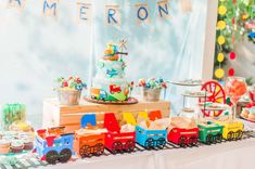 Katherine H's Birthday / Plains, Trains and Automobiles - Photo Gallery at Catch My Party Boys 1st Birthday Party Ideas, Trains Birthday Party, 1st Boy Birthday, Birthday Party Decorations, Planes Birthday Cake, Twin Birthday Cakes, Transportation Birthday, Construction Theme Party, Outdoor Birthday