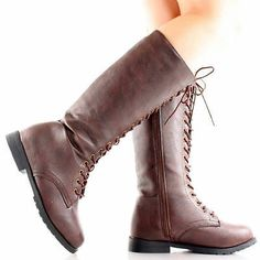 Womens Combat Boots Knee High Lace Up Military Army Biker Flat Heel Tall Fashion Xena Costume, High Heel Boots, High Heels, Military Army, Combat Boots, Biker, Lace Up, Wedges, Flats