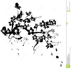 cherry blossom drawing black and white - Google Search