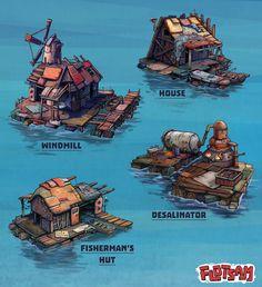 ArtStation   Flotsam   Floating Village Mockup, Stan Loiseaux