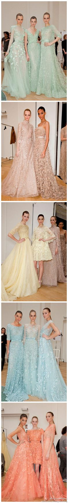 Elie Saab. Some of the dresses are really pretty,  some of the others are not my style.