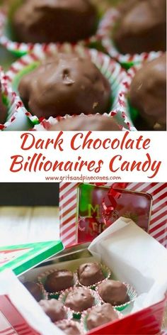Dark Chocolate Billionaires Candy is delicious, and this easy confection makes a terrific edible homemade Christmas gift or homemade Christmas candy for those special people in your life. New Year's Desserts, Cute Desserts, Christmas Desserts, Christmas Treats, Homemade Christmas Candy, Christmas Chocolate, Homemade Candies, Christmas Appetizers, Christmas Baking