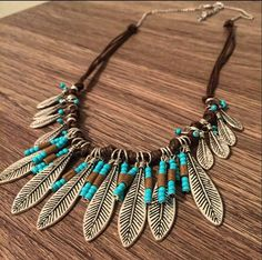 Feather Native Necklace Feathers Necklace Turquoise Bib Necklace Statement Necklace Beaded Gypsy Necklace Western Country Native Boho Indian by CountryOutlawDesigns on Etsy https://www.etsy.com/listing/271253182/feather-native-necklace-feathers