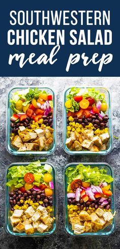 This southwestern chopped chicken salad is going to be your new favorite work lunch for your meal prep! Prep ahead on the weekend and when you're ready to serve, drizzle with ranch and sprinkle with tortilla strips. Lunch Meal Prep, Meal Prep Bowls, Meal Prep Salads, Meal Prep Menu, Weekend Meal Prep, Salad Recipes For Dinner, Dinner Salads, Chicken Meal Prep, Chicken Salad