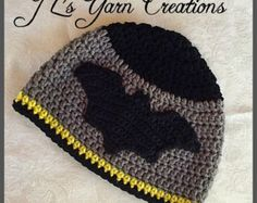 This hat is made to order. This handmade crocheted Batman hat is made of so - Be Batman - Ideas of Be Batman - This hat is made to order. This handmade crocheted Batman hat is made of soft acrylic yarn. This Batman hat would be a great gift for any Batman Crochet Hat, Crochet Kids Hats, Crochet For Boys, Knitted Hats, Bonnet Crochet, Crochet Cap, Crochet Beanie, Cute Crochet, Knitting Patterns Free