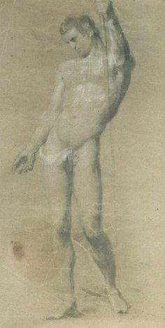 William Mulready, 'Life Drawing of a Standing Male Nude' [Royal Academy of Arts, London]. Although from a later period, Mulready's study is an example of the kind of life drawing study that is typical of the Academy school. Drawing Studies, Royal Academy Of Arts, Art Model, Body Language, Life Drawing, Nudes, Erotica, Gentleman, Period