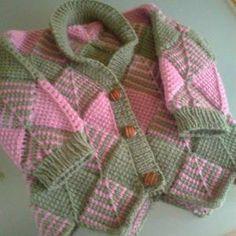 Tunisian Diamond Cardigan (combination Tunisian crochet and knitting)