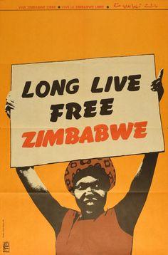 Long Live Free Zimbabwe Cuban Poster by Lazaro Abreu | OSPAAAL 1980