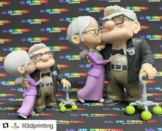 3d printed Carl and Ellie cake topper from the Disney movie Up. 3d modeling and sculpting done in 3dsmax + Zbrush. 3d printed on Projet 660 Pro