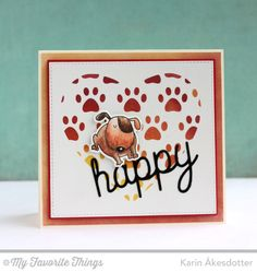 Happy Trio Die-namics, BB You Make My Tail Wag Stamp Set, BB You Make My Tail Wag Die-namics, Scattered Paw Prints Stencil - Karin Åkesdotter   #mftstamps
