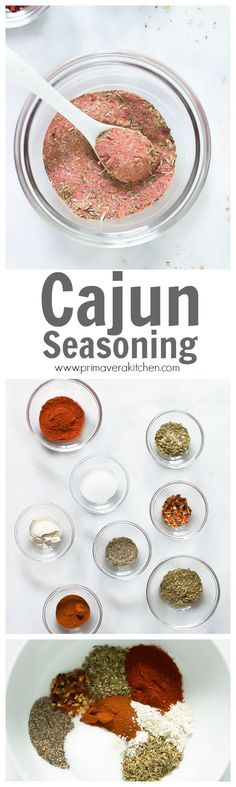 cajun seasoning - This flavorful Cajun Seasoning recipe is made with red pepper flakes, onions, garlic and herbs. It is great with chicken, fish, shrimp and more.