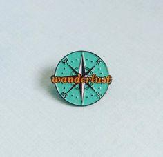 LAST TWO PINS  Wanderlust Enamel Pin / Lapel by WhoAreYouCurlySue