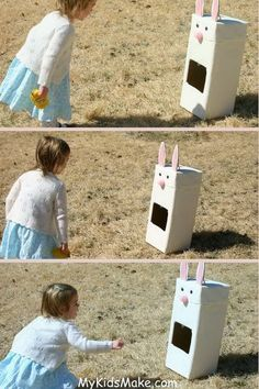 Bunny Bean Bag Toss Game. Create cardboard box bunny with big pink pom pom nose, googly eyes and large paper ears. The bean bags are also made like Easter eggs. It's a great idea for an activity in your Easter party.