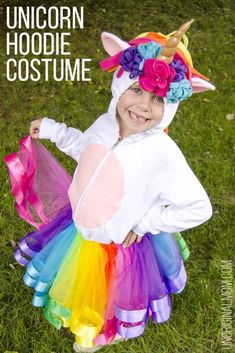 DIY unicorn hoodie and tutu // 11 amazingly bright, bold, and fun rainbow unicorn costume ideas you can DIY or buy Diy Clothes Hangers, Diy Clothes Refashion, Shoe Refashion, Rainbow Tutu, Rainbow Outfit, Rainbow Unicorn, Rainbow Clothes, Flounder Costume, Easy Diy Costumes