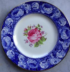 The Miniver Rose Blue English Transferware Plate Cabbage Roses Border with Painted Pink Rose and Lavender Flowers