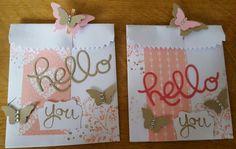 Thinlits Leckereientüte und hello you, Stampin up Kirschblüte, Rhababerrot, Schmetterlingstanze, Timeless Textures, Fabulous Work of art, Designpapier Liebesblüten, Holzklammer