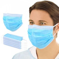 100 Count Boxes Disposable Face Medical Mask, Non-Woven, Blue Ear loop Mouth Dust Cover Safety Mask, Respirator Mask, Face Mask Set, Mouth Mask, Cute Pattern, Ear Loop, Layering, Facial, Medical