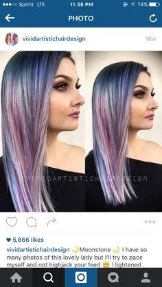2dabe472534d Gorgeous opal blending. Blues and purples. Hair dye. Fantasy Hair