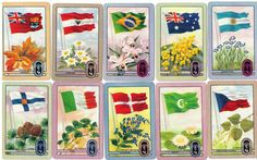 "vintage Coles swap trading cards ""Flags of the World"" Olympics series 1 of 3 pics"