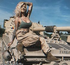 Former US Marine turned model nicknamed 'The Combat Barbie' poses in sexy shoot Vogue Photography, Pin Up Photography, Mcrd San Diego, Joining The Marines, Motorbike Girl, Road Trip Adventure, Military Women, Us Marines, Themed Outfits