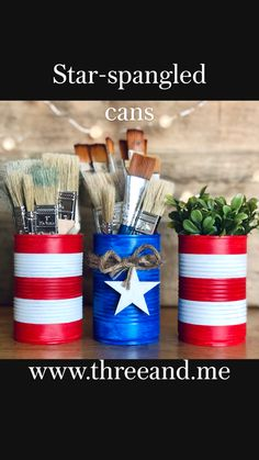 Fouth Of July Crafts, 4th July Crafts, Fourth Of July Decor, 4th Of July Decorations, Patriotic Crafts, 4th Of July Party, July 4th, Fourth Of July Crafts For Kids, Aluminum Can Crafts