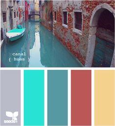 Canal Hues by Design Seeds Colour Schemes, Color Patterns, Color Combos, Colour Palettes, Room Colors, House Colors, Paint Colors, H Design, Design Seeds