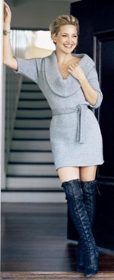 Hudson rocks sweater dress and boots perfectly | Keep the Glamour | BeStayBeautiful