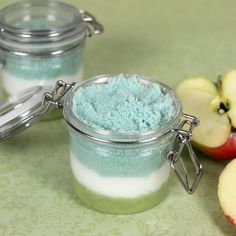 This Apple Sage Salt Scrub Recipe helps exfoliate the skin, leaving it soft and smooth. The salt scrub is made with avocado oil, Epsom salt and micas.