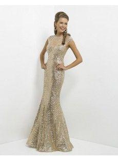 Jewel Sweep Train Gold Trumpet Mermaid Prom Dress