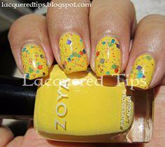 LACQUERED TIPS: Carousel over Zoya Creamy