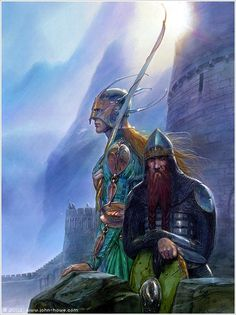 Picture of Legolas and Gimli by John Howe. Long before he was involved with Peter Jackson's Lord of the Rings trilogy, John Howe was creating wonderful art about Middle Earth. I never actually thought of Legolas looking like this! Hobbit Tolkien, Tolkien Books, O Hobbit, Lotr, Legolas Et Gimli, Gandalf, Thranduil, High Fantasy, Fantasy World