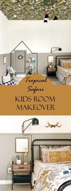 I am so excited to be sharing with you my son's tropical safari kids room makeover which is perfectly gender neutral and super chic! The real showstopper is the Girls Bedroom, Bedroom Decor, Floral Bedroom, Bedroom Ideas, Safari Kids Rooms, Suitcase Decor, Rustic Bookshelf, Bead Board Walls, Cute Wall Decor