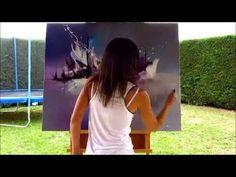 """Démonstration de peinture abstraite (8) Elisabeth - Toile """"Quintessence"""" - YouTube"""