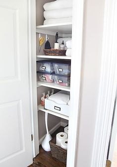 A clever do-it-yourself idea: Install a pull out drawer on the bottom shelf to slide items in and out.