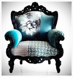 Funky vintage chair. love the fabric. this would be perfect in my bedroom.