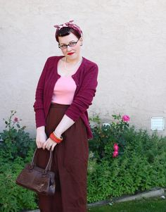 Chronically Vintage | 1940s inspired raspberry, brown and pink for fall.