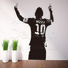 Art design cheap home decoration PVC football player Messi wall sticker removable vinyl house decor soccer sports decals in room Wall Painting Decor, Wall Art Decor, Art Design, Sign Design, Sport Bar Design, Wall Paint Inspiration, Sports Room Decor, Pizzeria Design, Football Wall