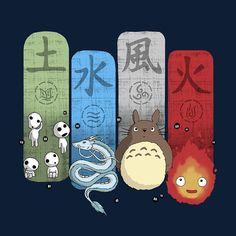 Conception: « Ghibli élémentaire charmes » cette conception résume monde imaginatif de Miyazaki tous. Calcifer, Totoro, Kodamas et Haku le Dragon