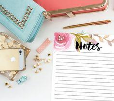 Notes Half Sheet Printable Pink Watercolor by PerennialPlanner